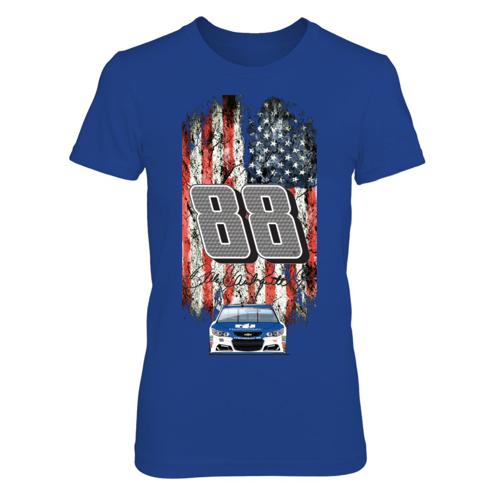 Dale Earnhardt Jr. NASCAR 88;Patriotic Distressed Flag design Front picture