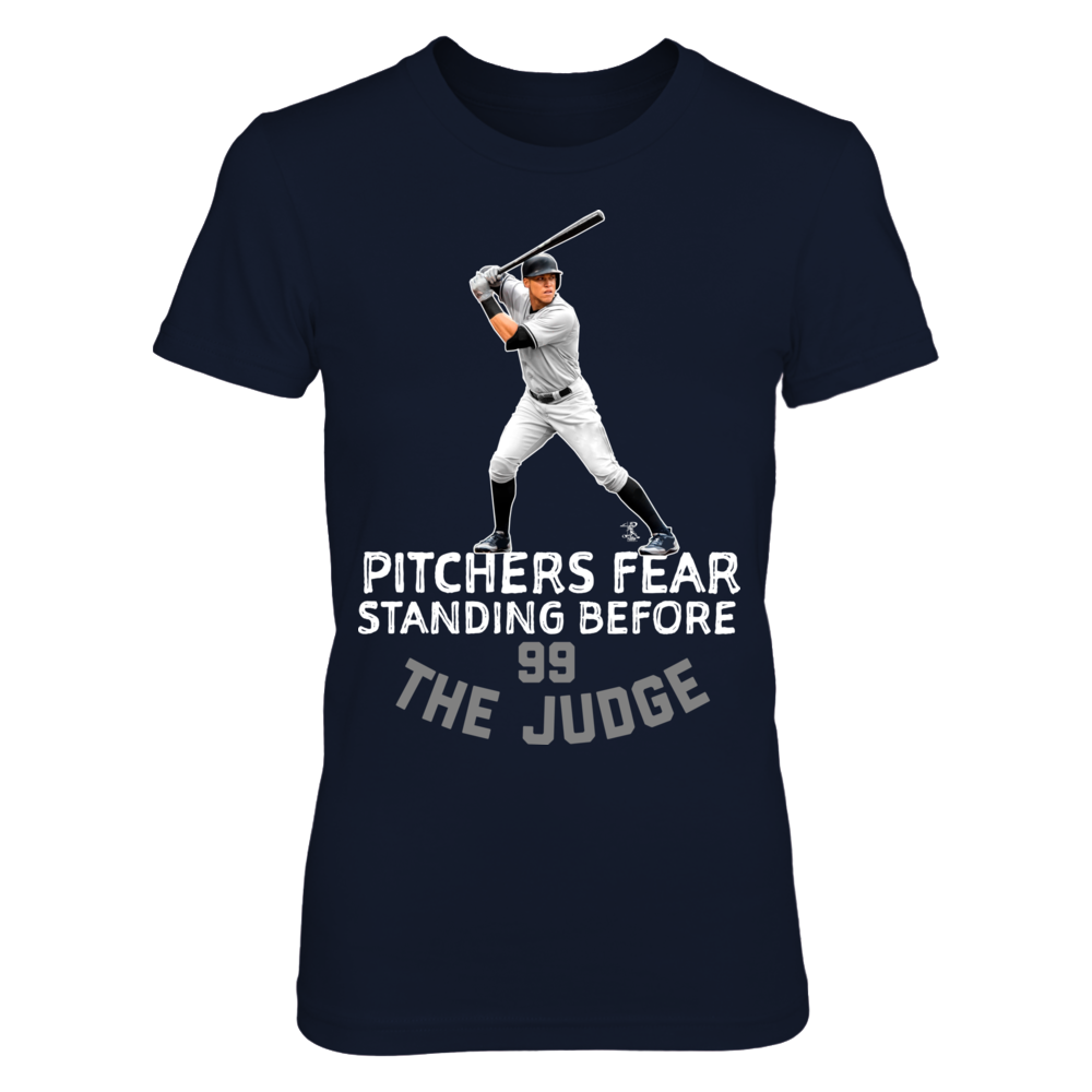 Officially Licensed MLB Apparel Aaron Judge Pitchers Fear Standing Before the Judge Front picture
