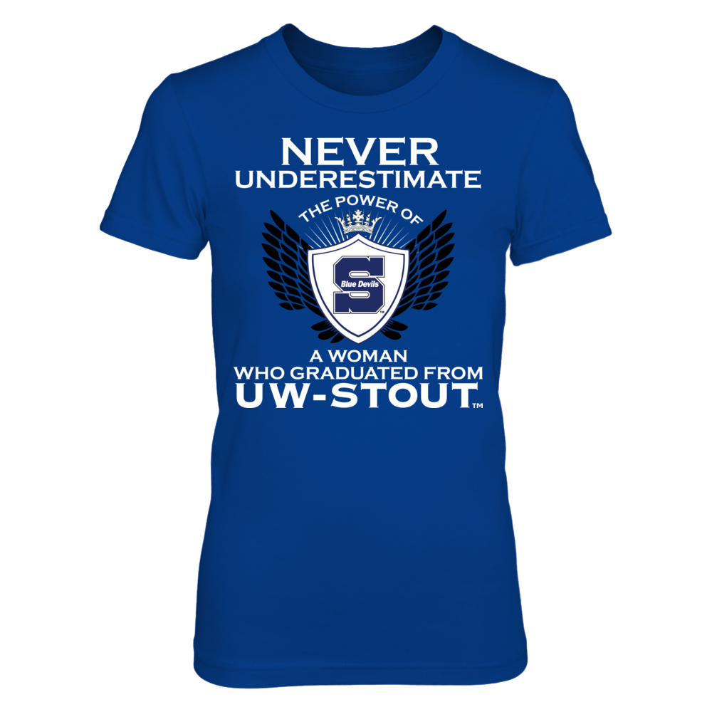 Wisconsin Stout Blue Devils - Never Underestimate The Power Of A Woman Front picture
