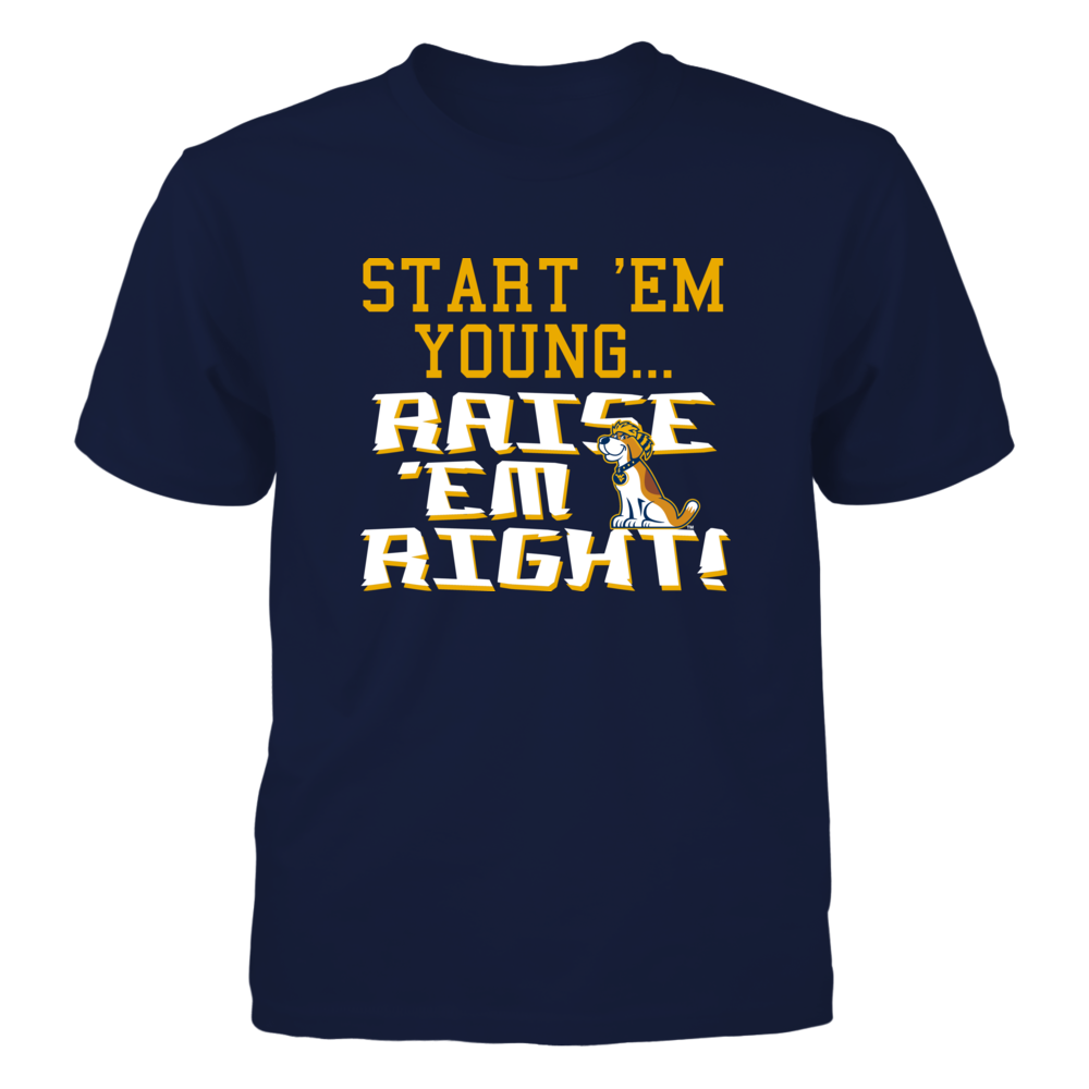 START 'EM YOUNG... RAISE 'EM RIGHT - WEST VIRGINIA MOUNTAINEERS Front picture