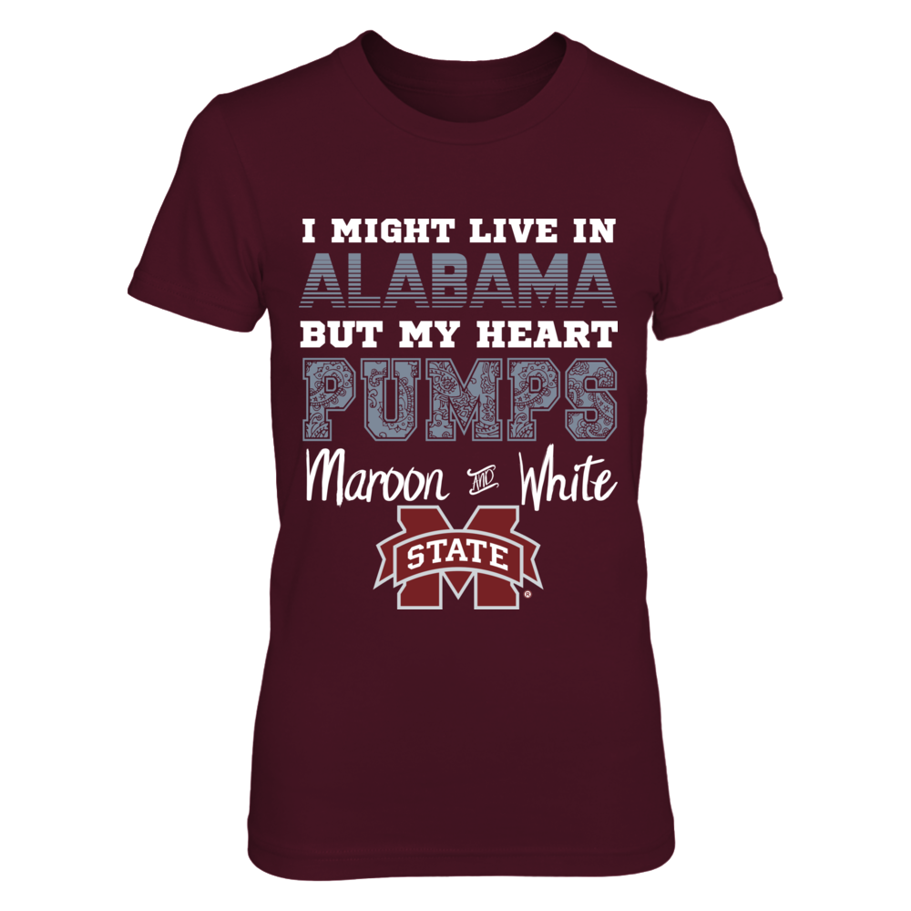 Mississippi State Alabama Heart Pumps Maroon and White Shirt Front picture