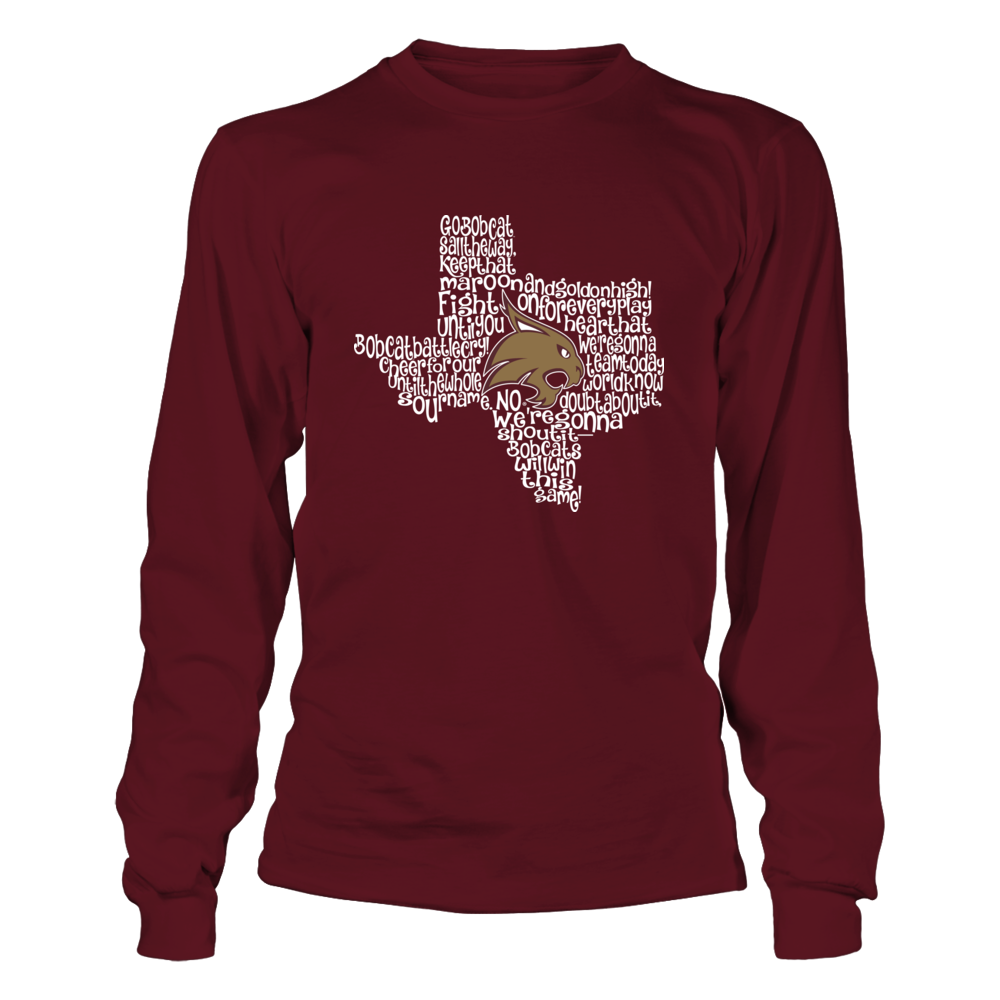 Texas State Bobcats - Fight Song Inside State Map - IF-IC13-DS27 Front picture