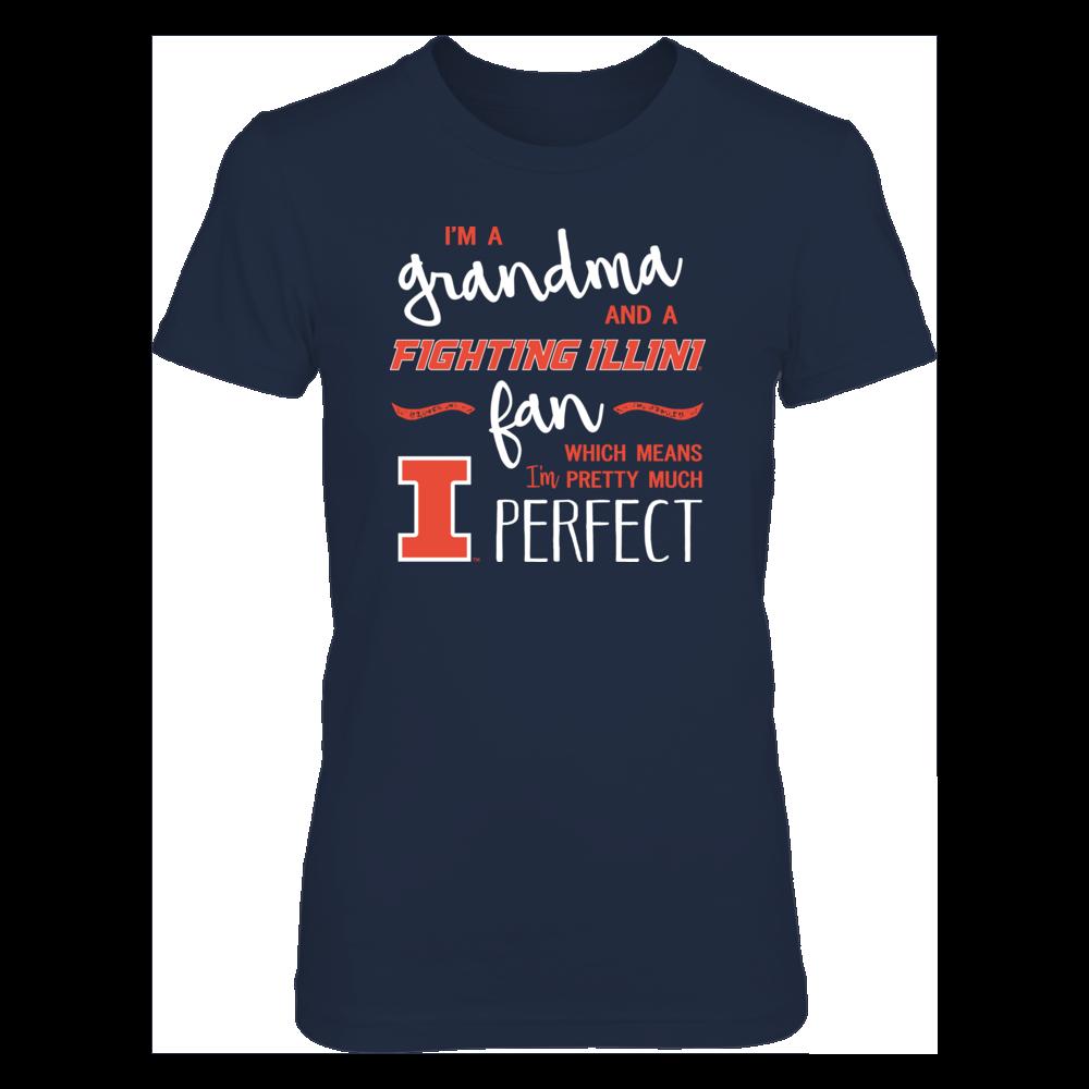 Perfect Grandma Illinois Fighting Illini Fan T-Shirt | Tank | Hoodie Front picture