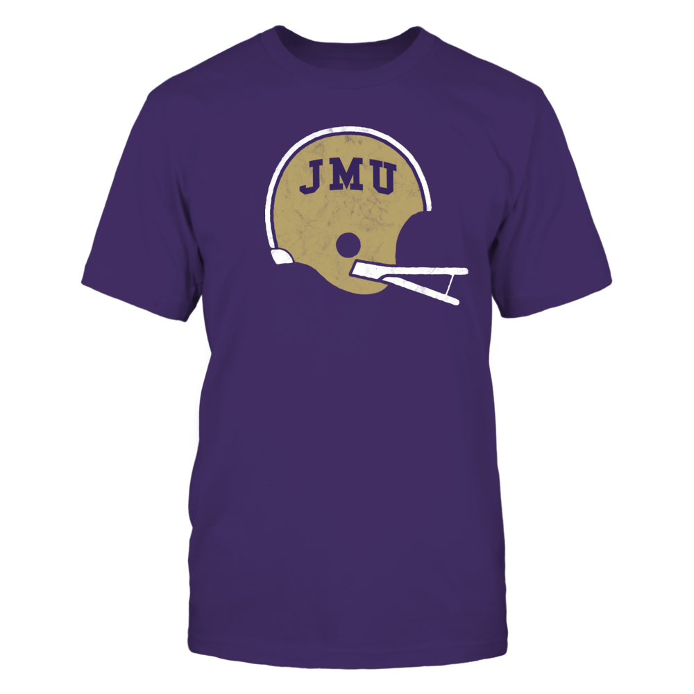Retro Old School JMU Football Helmet - Vintage Distressed Design Front picture