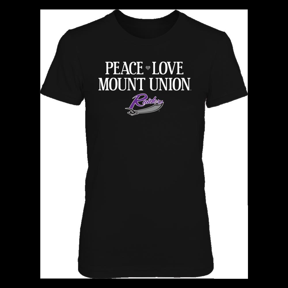 University of Mount Union Purple Raiders T-Shirt | Hoodie | Tank - Peace. Love. Mount Union. Front picture