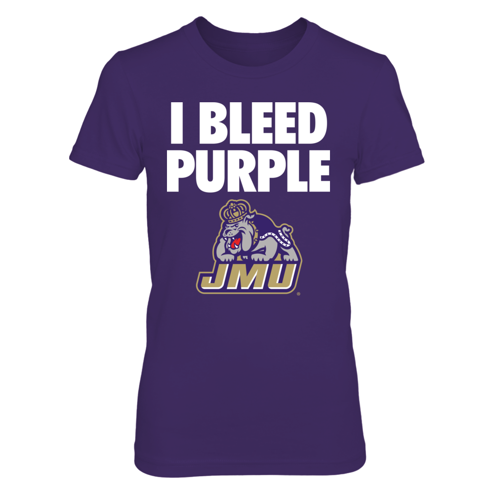 I Bleed Purple! JMU Dukes Fan Design.  Go Dukes! James Madison University Fan Gear Front picture
