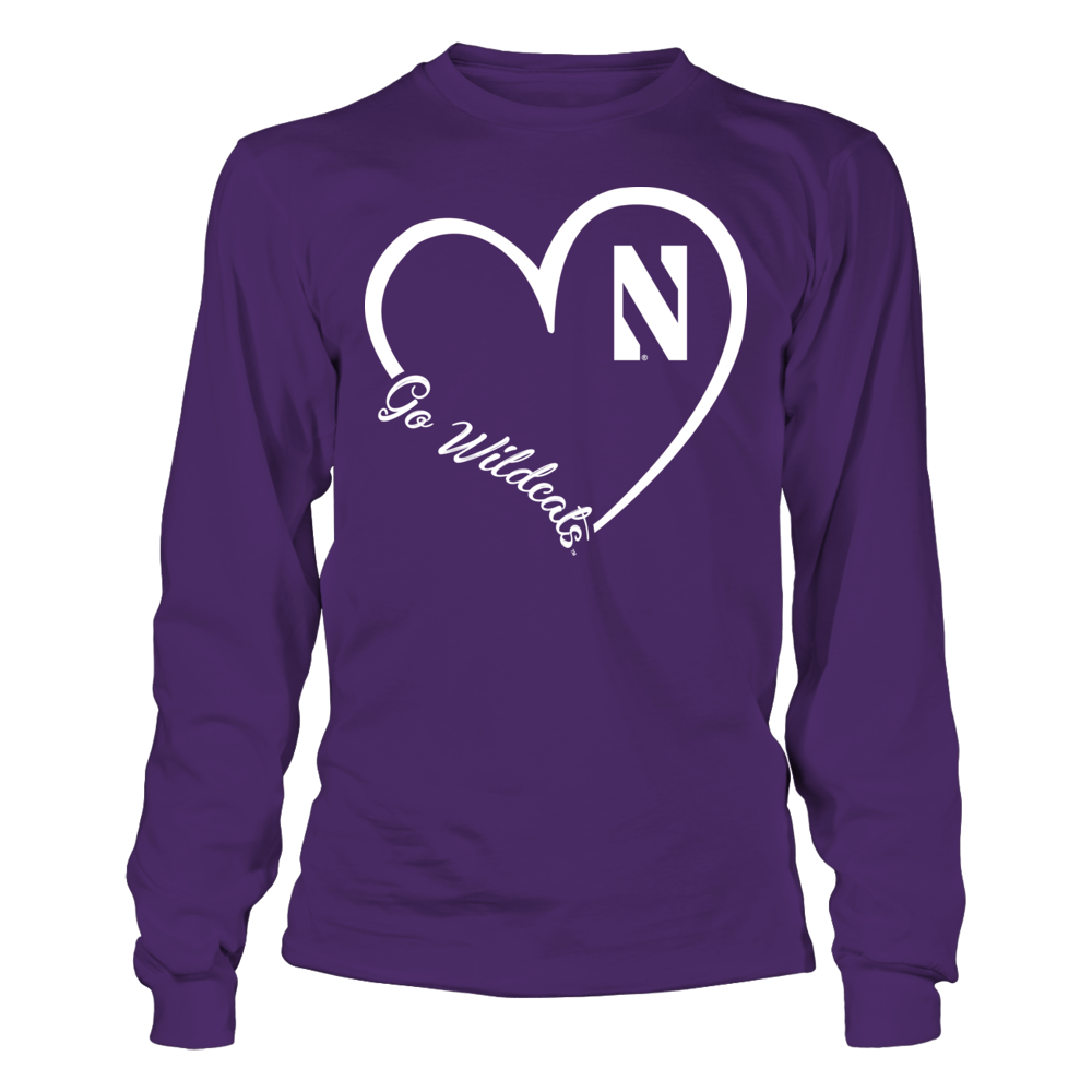 Northwestern Wildcats - Heart 3/4 Front picture