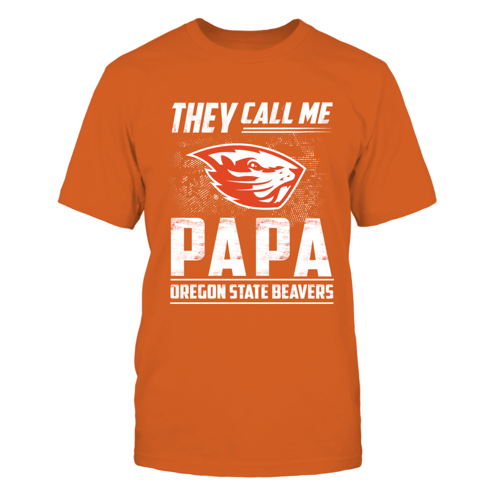 Oregon State Beavers - They Call Me Papa - Team Name - Orange Shirt Front picture