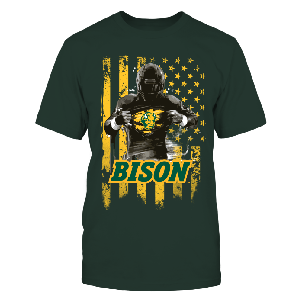 North Dakota State Bison - Player Flag - Green shirt Front picture