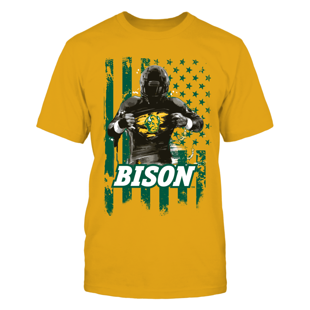 North Dakota State Bison - Player Flag - Gold shirt Front picture