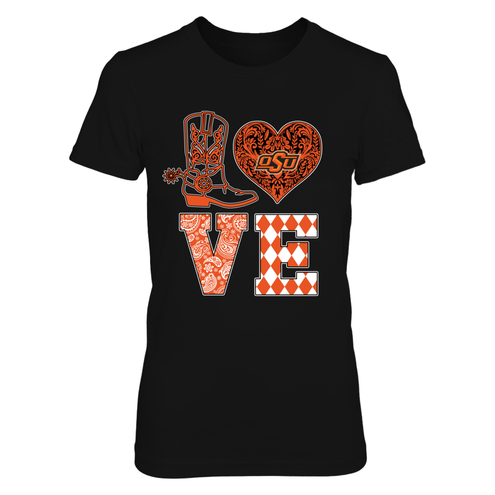 Oklahoma State Cowboys - Love Boot Lace Heart  - IF32-IC32-DS37 Front picture