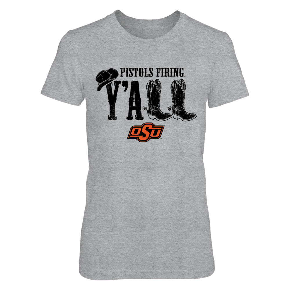 Oklahoma State Cowboys - Y'all Boots - Orange Shirt Front picture