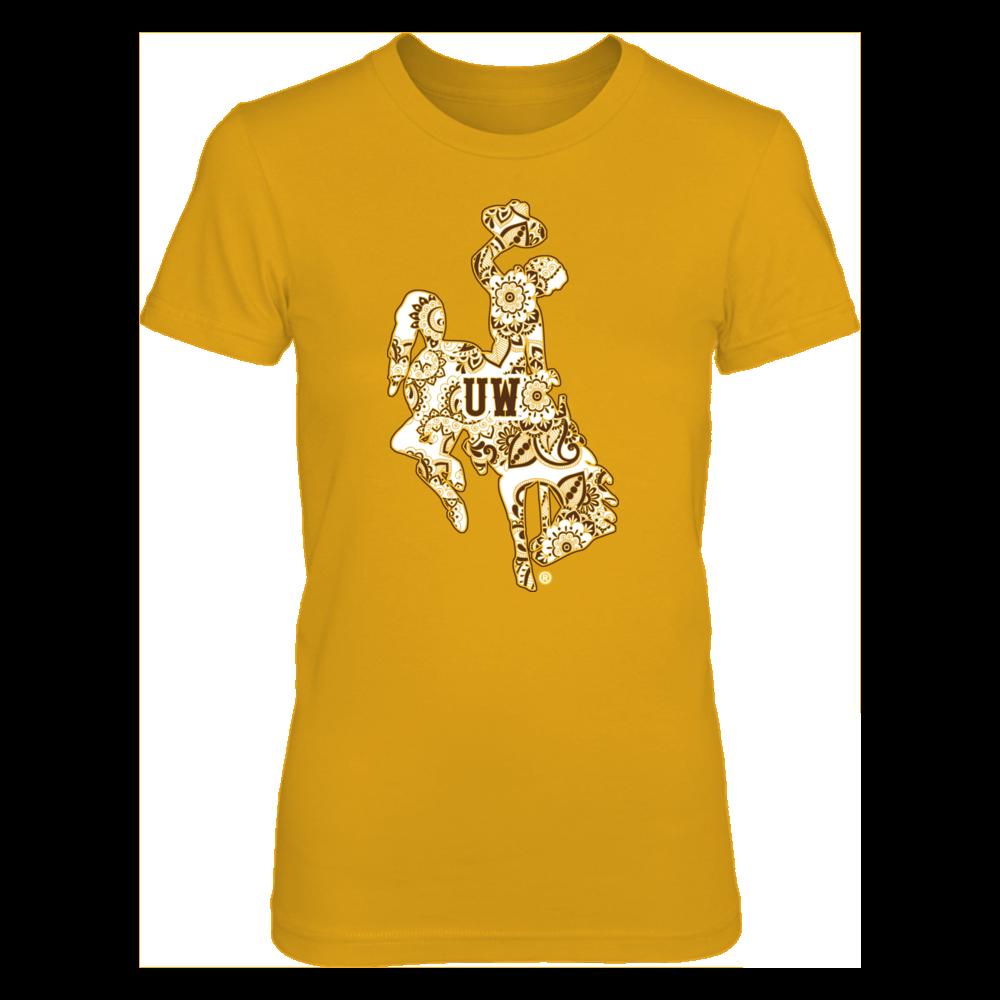 Wyoming Cowboys - Mandala Pattern - Gold shirt Front picture