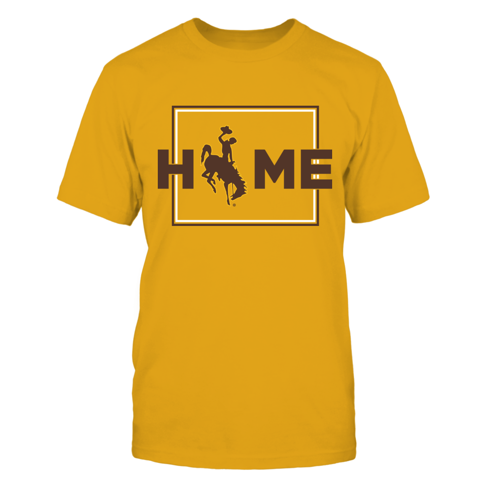 Wyoming Cowboys - Home With State Outline - Gold shirt Front picture