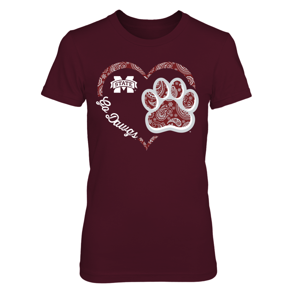 Mississippi State Bulldogs - Heart paw - Paisley Front picture