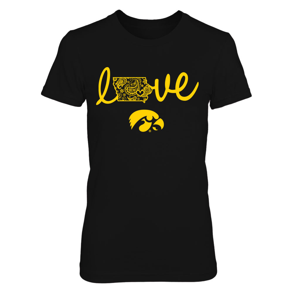 Iowa Hawkeyes - State Love - Paisley Map Front picture