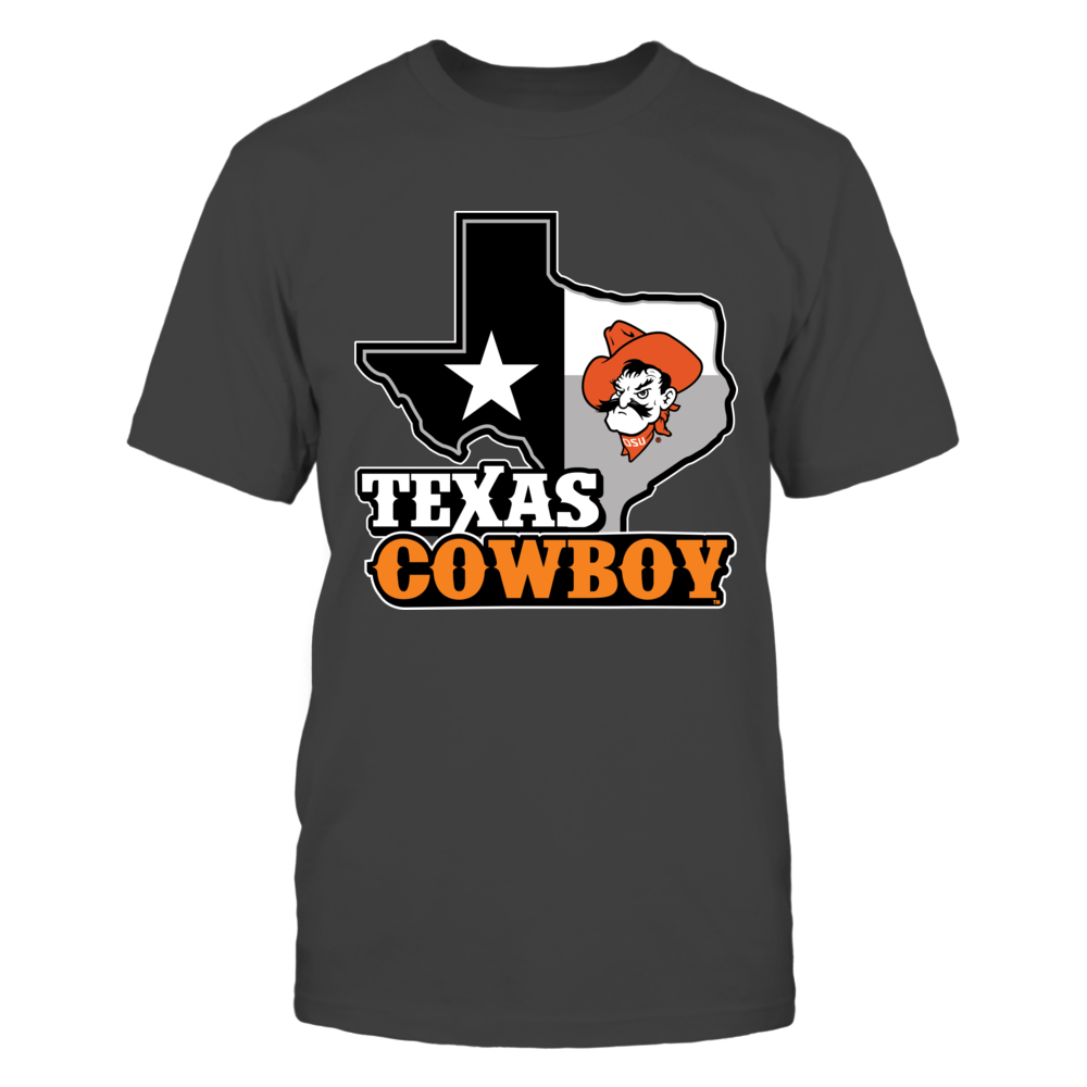 Oklahoma State Cowboys - Texas Map Mascot - Orange Shirt Front picture