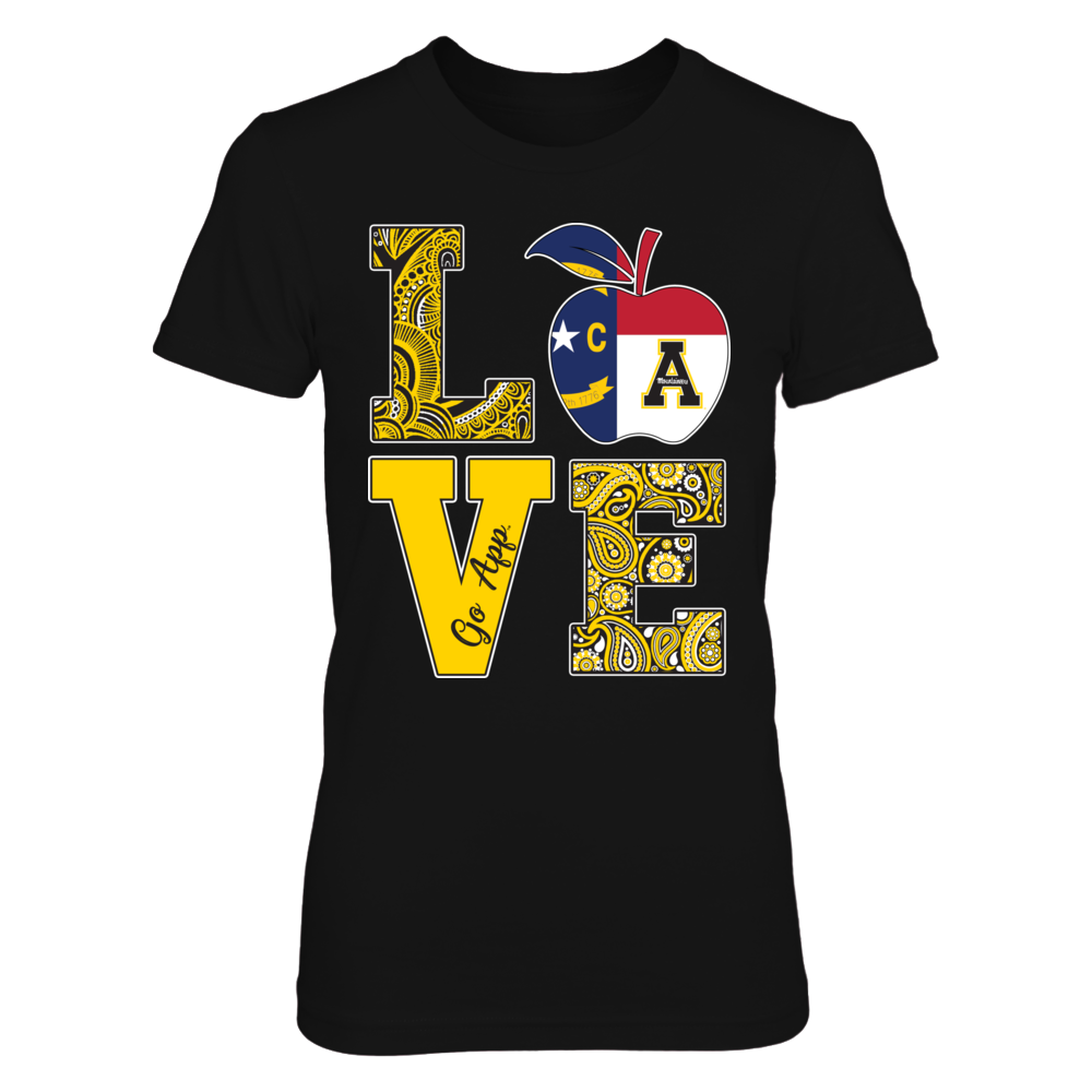 Appalachian State Mountaineers - Stacked Love - Teacher State flag Front picture