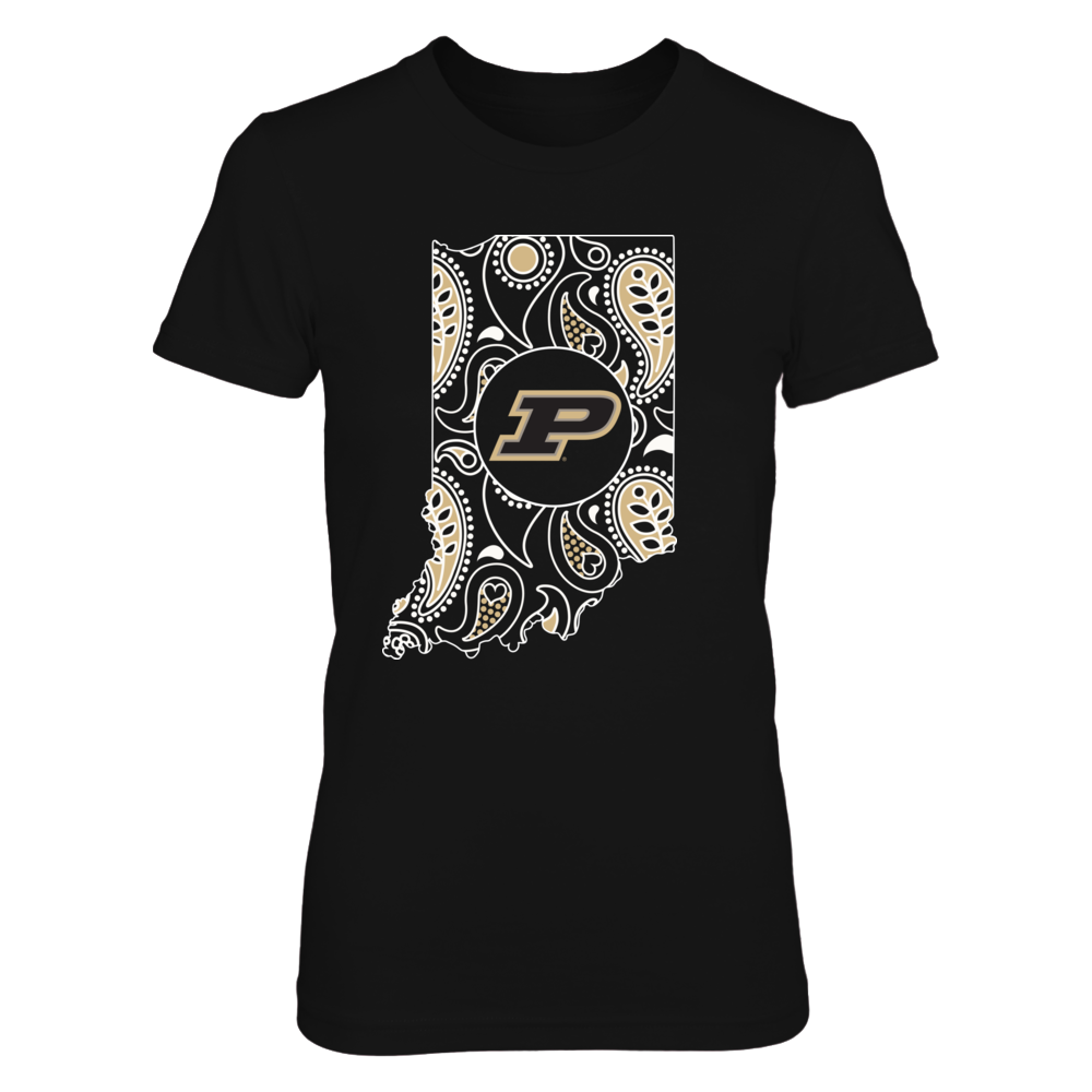 Purdue Boilermakers - Paisley Pattern State Map Front picture