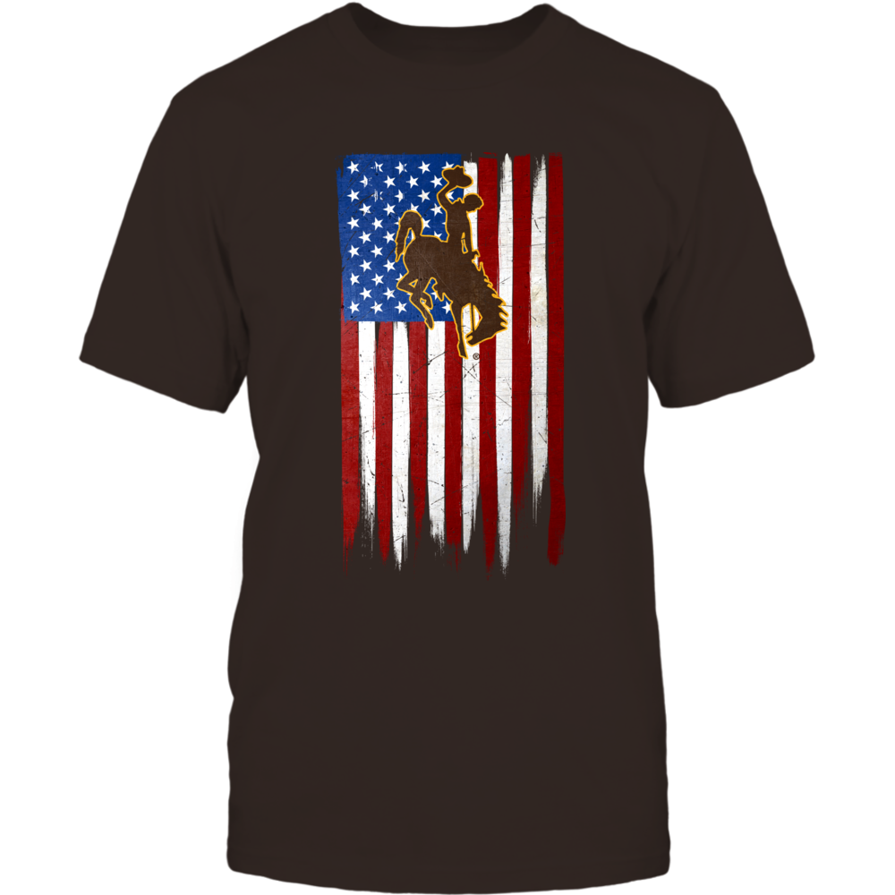 Grunge American Flag - Wyoming Cowboys Front picture