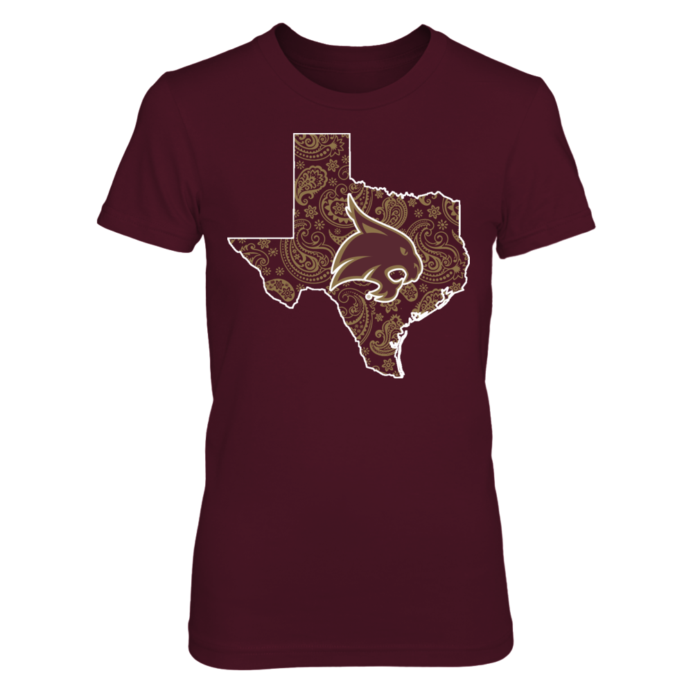Texas State Bobcats - Paisley State Map Front picture