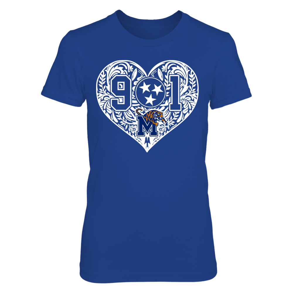 Memphis Tigers - 901 inside pattern heart Front picture