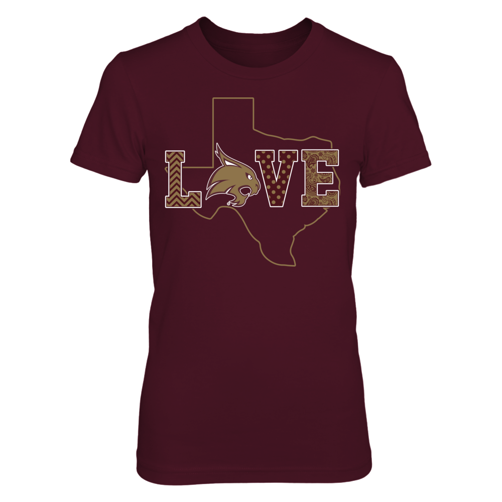 Texas State Bobcats - Love - State Map Outline Front picture