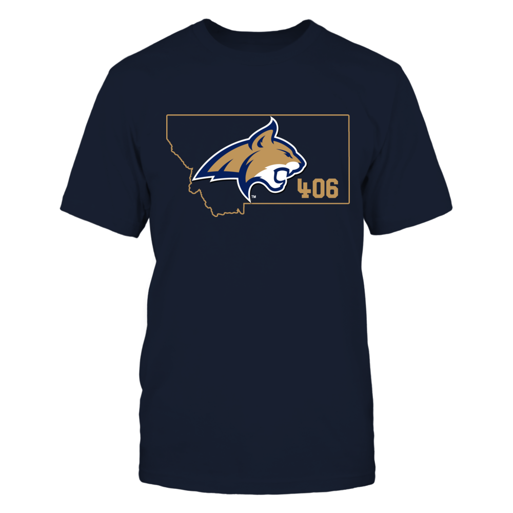 Montana State Bobcats -  Logo In State Outline - Area Code Front picture