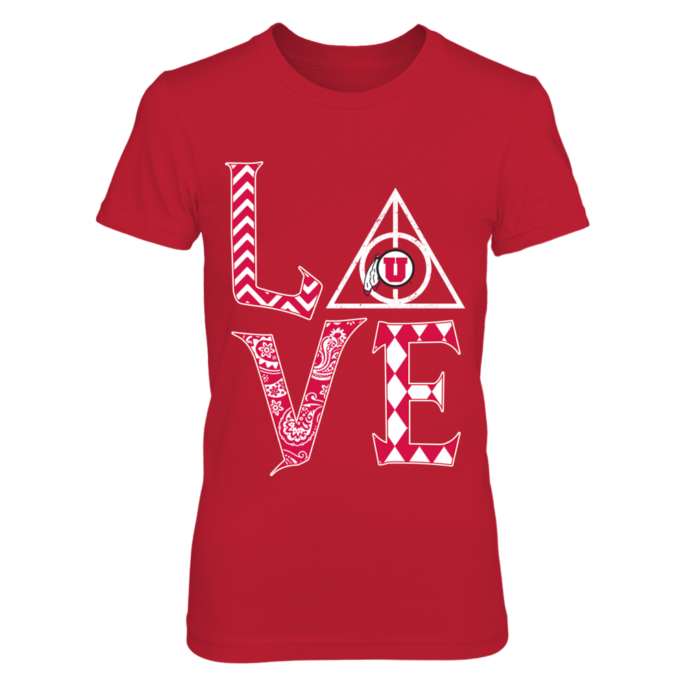 Utah Utes -   Stacked Love - Deathly Hallows - Pattern Front picture