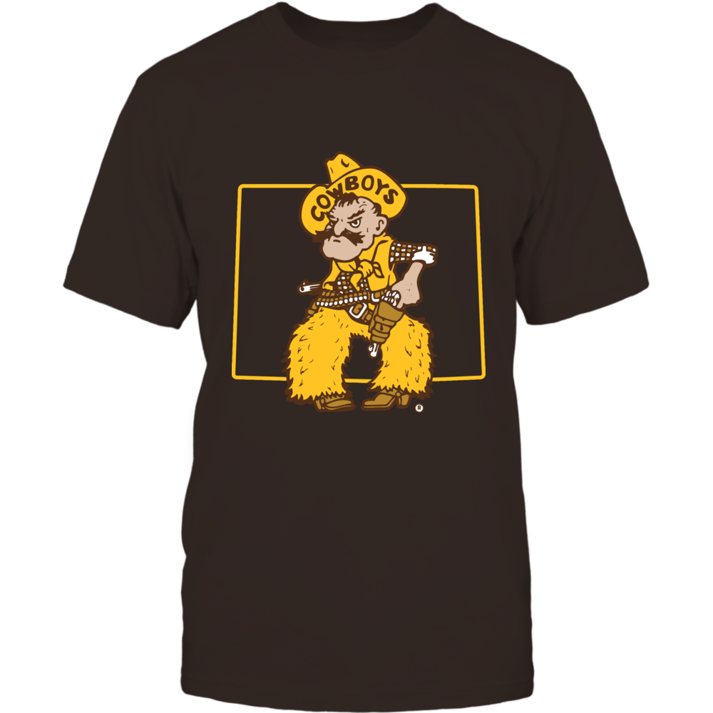 Wyoming Cowboys - Mascot In State Outline Front picture