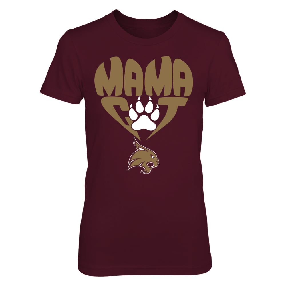 Texas State Bobcats - Mama Cat In Heart Shape - Paw Front picture