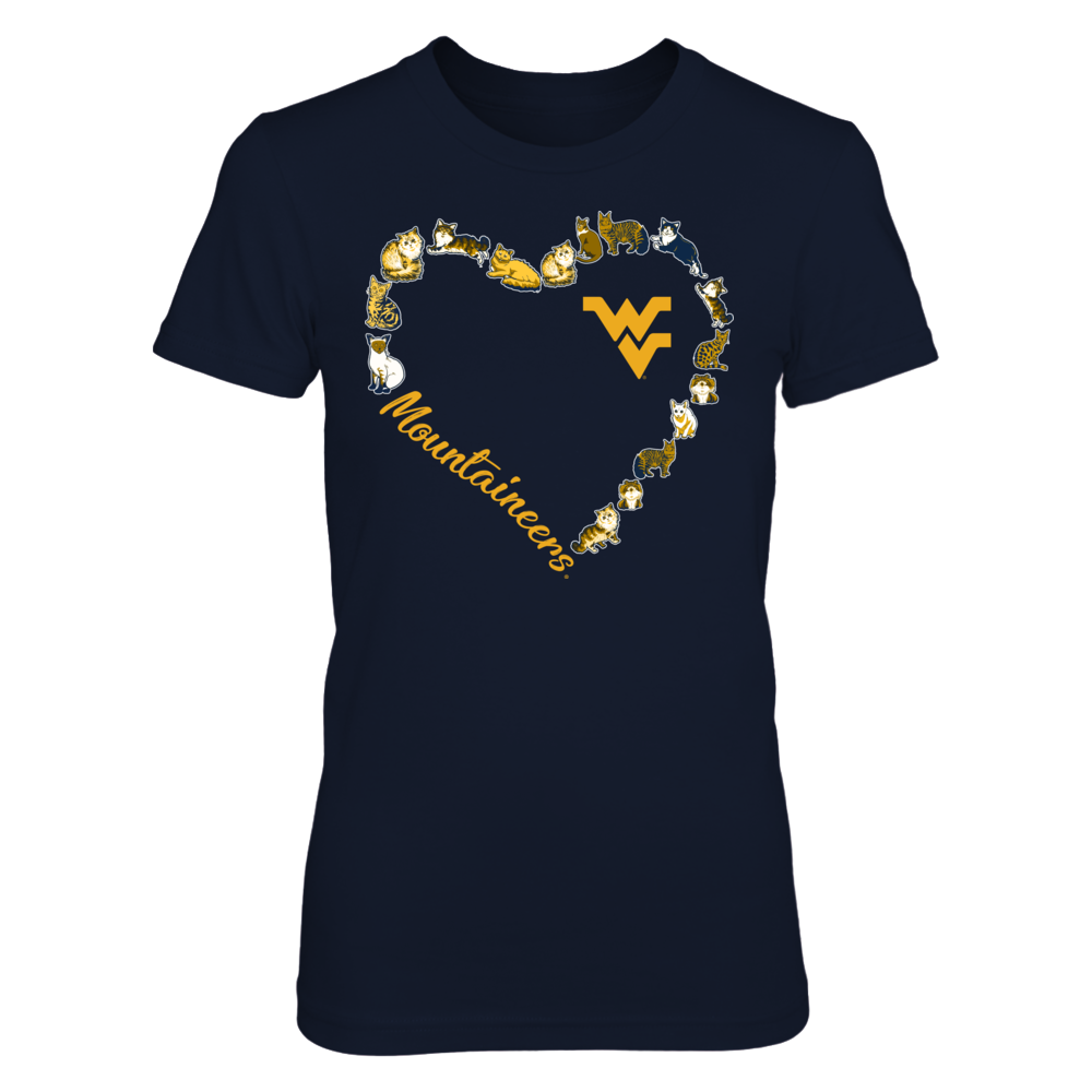 West Virginia Mountaineers - Heart Outline of  Cats Front picture