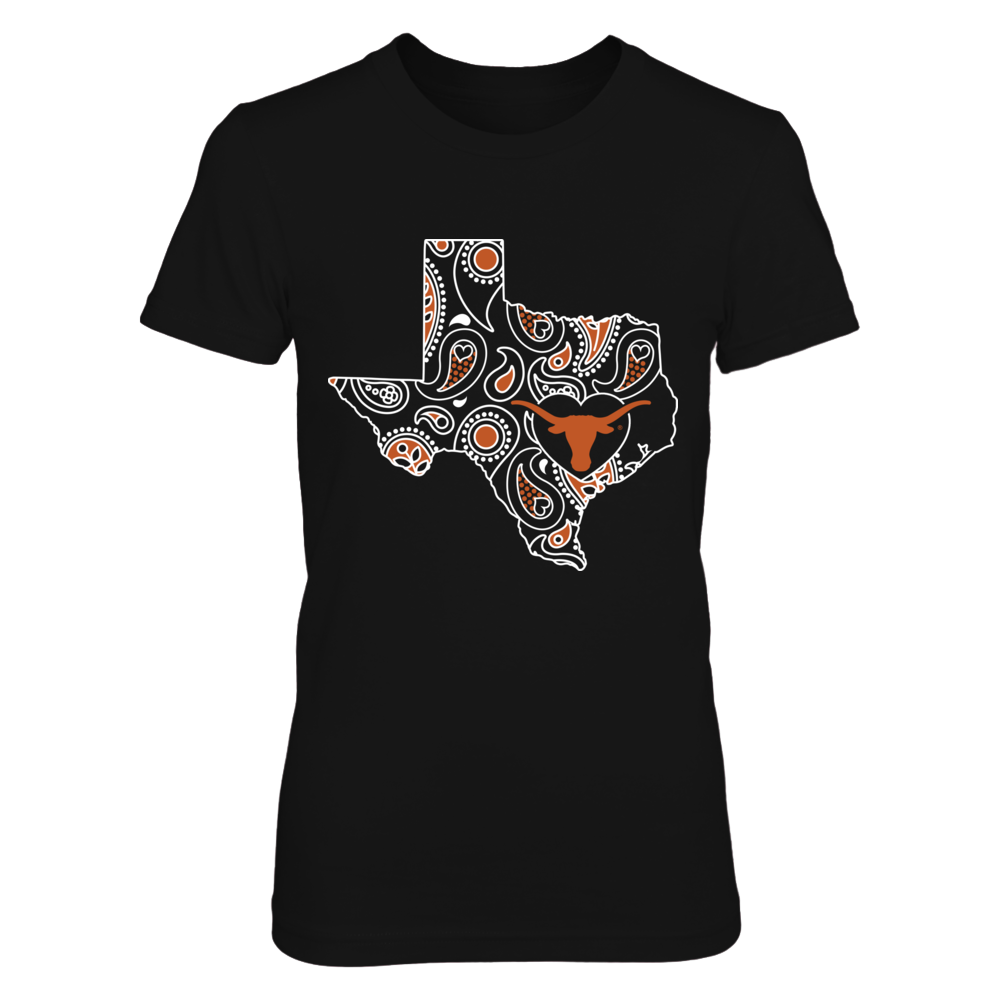 Texas Longhorns - Paisley Map - Logo in Heart Front picture