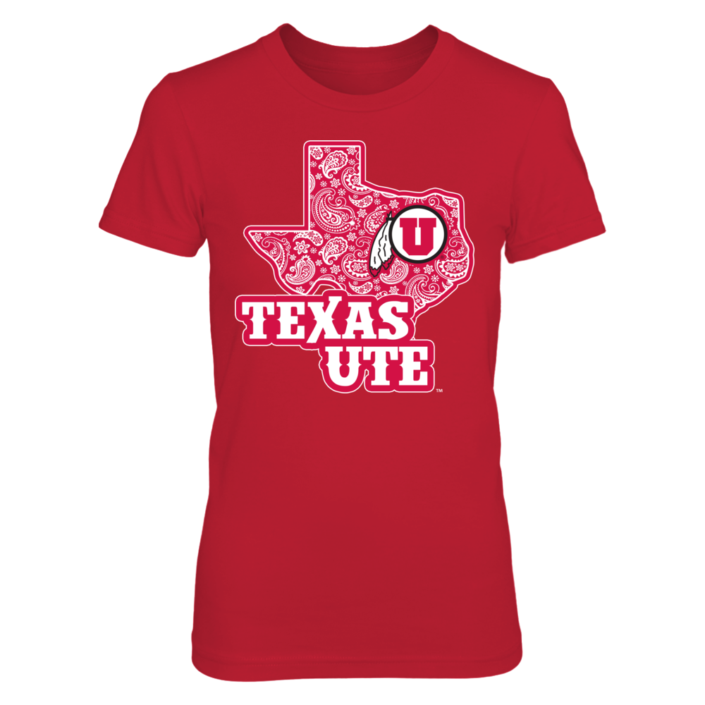 Utah Utes - Paisley Pattern Texas Map Mascot Front picture