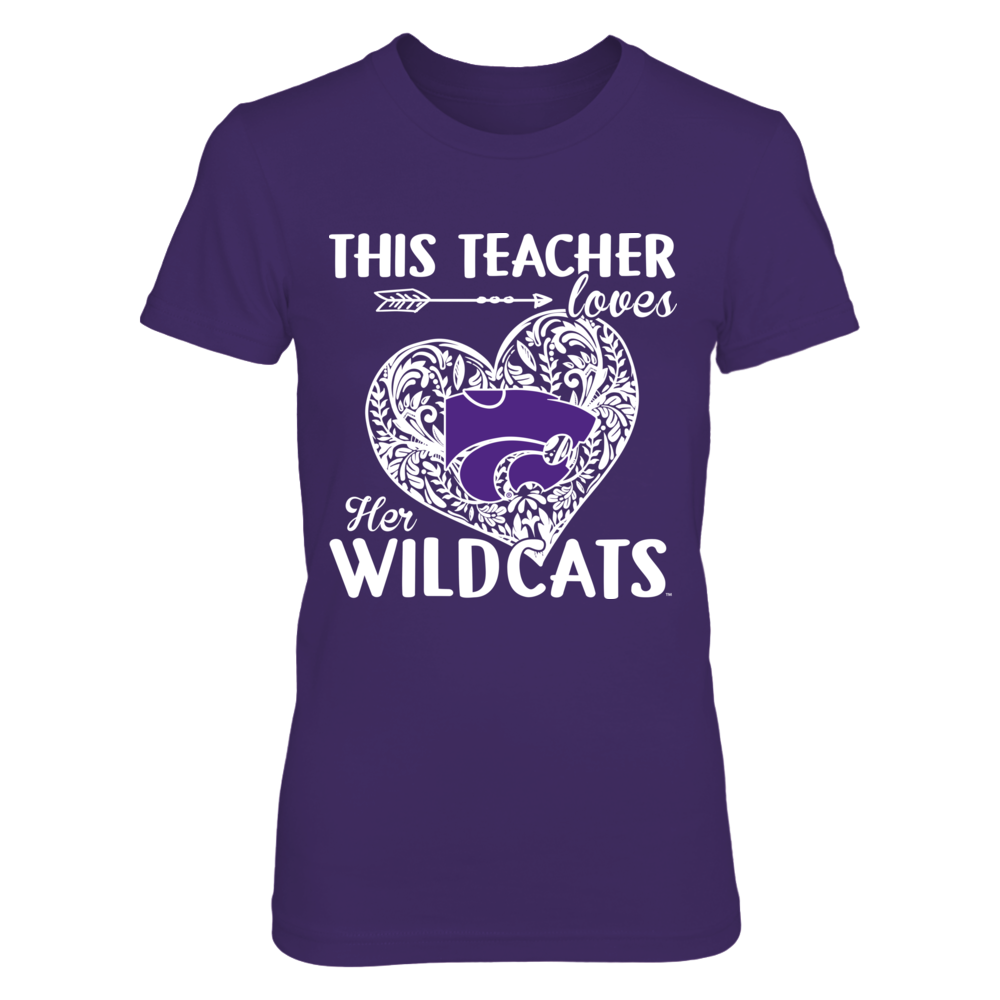 Kansas State Wildcats - This Teacher Loves Her Team - Pattern Heart Front picture