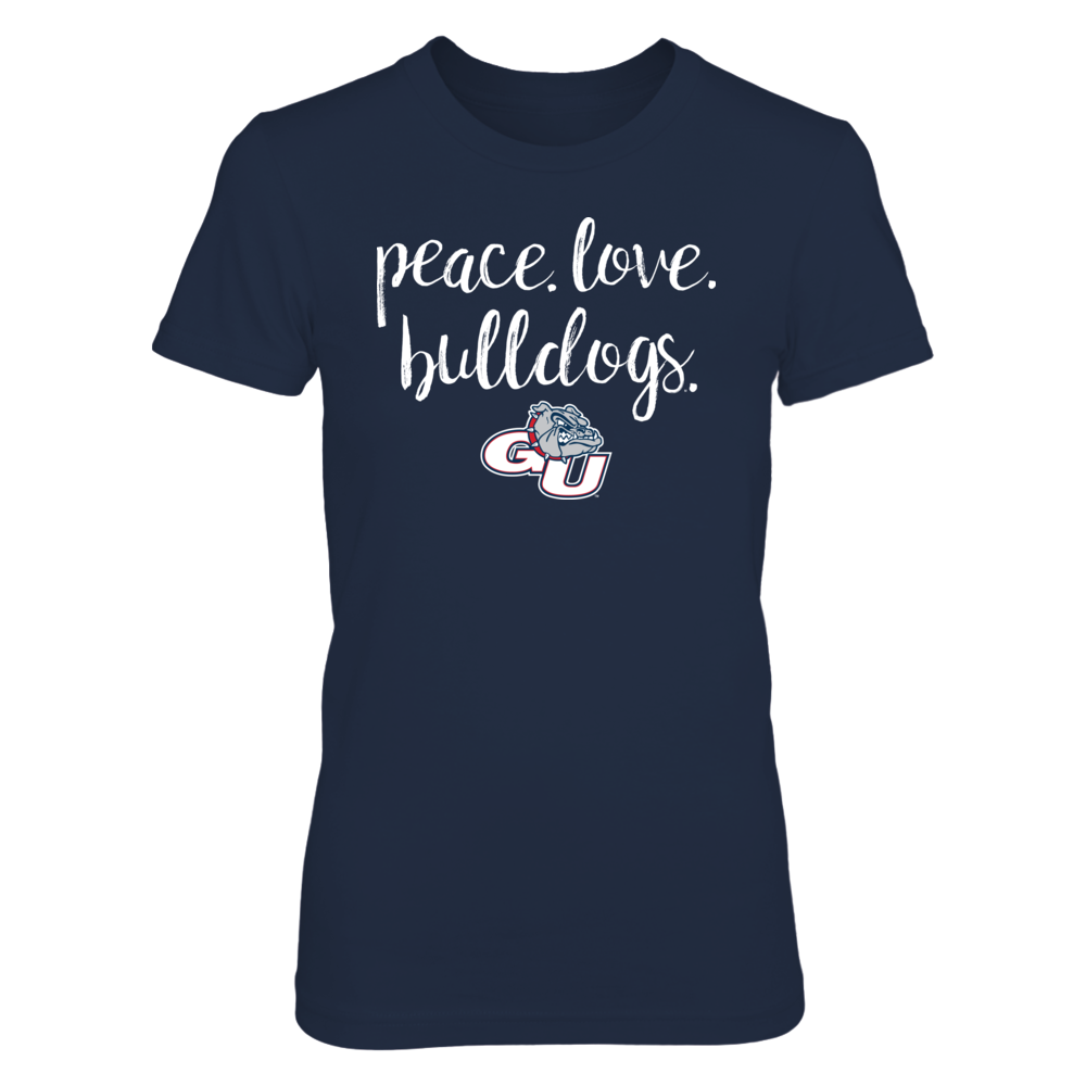 Peace. Love. Bulldogs. - Officially Licensed Gonzaga University T-Shirt Front picture