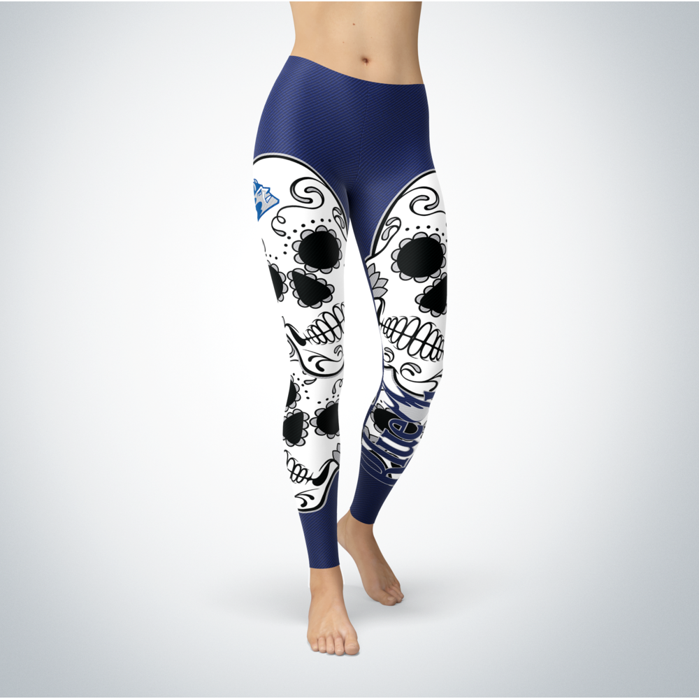 Sugar Skull Leggings - Wisconsin Stout Blue Devils Front picture