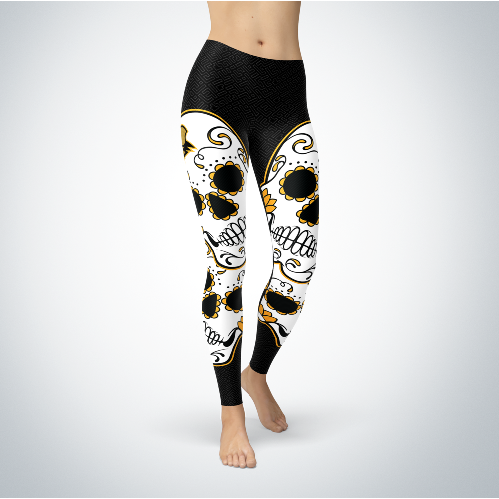 Sugar Skull Leggings - UMBC Retrievers Front picture