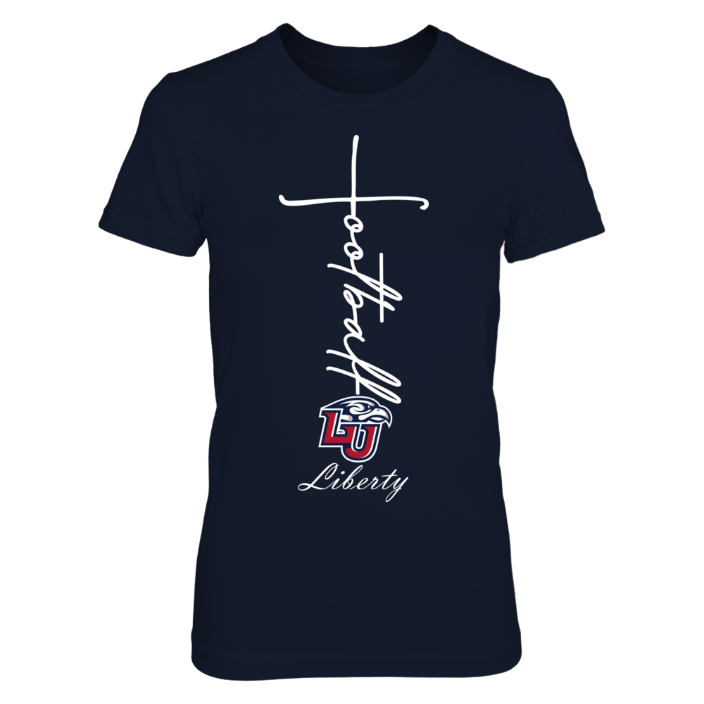 Liberty Flames - Football In Cross Shape Front picture