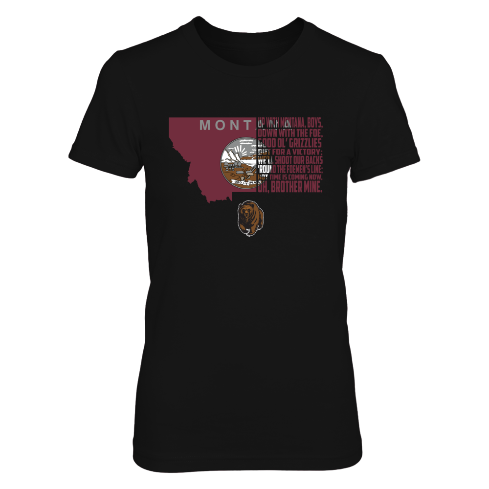 Montana Grizzlies - Half State Flag - Fight Song Front picture