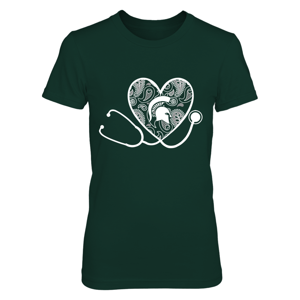 Michigan State Spartans - Heart Stethoscope - Paisley Front picture