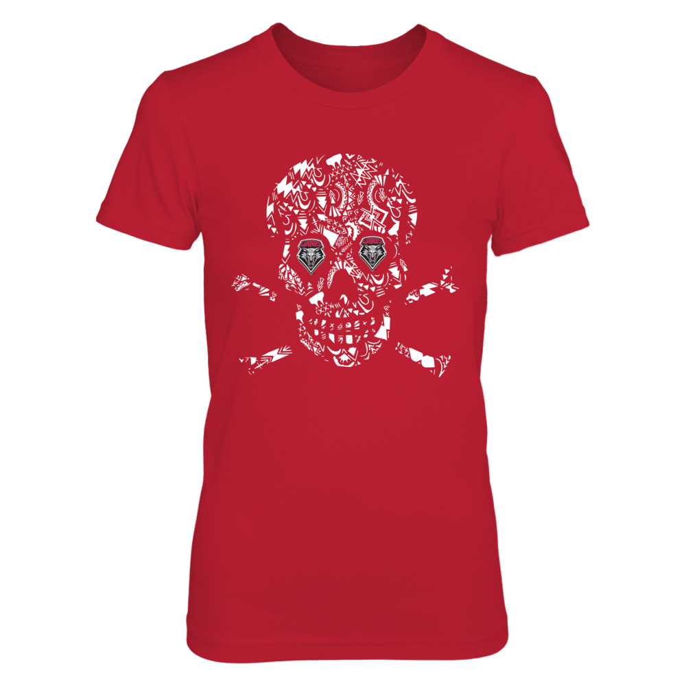 New Mexico Lobos -  Skull Shirt - Aztec Pattern Front picture