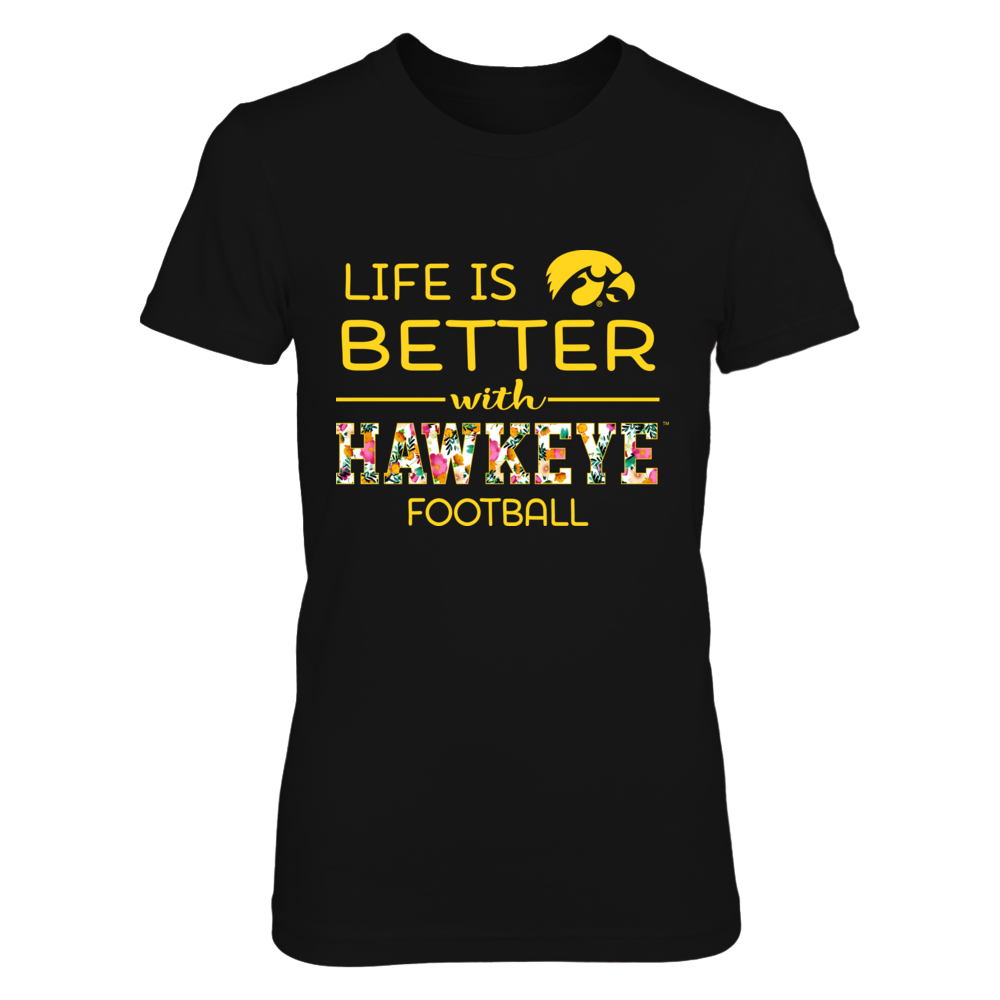 Iowa Hawkeyes - Life Is Better With Football - Floral Pattern Front picture