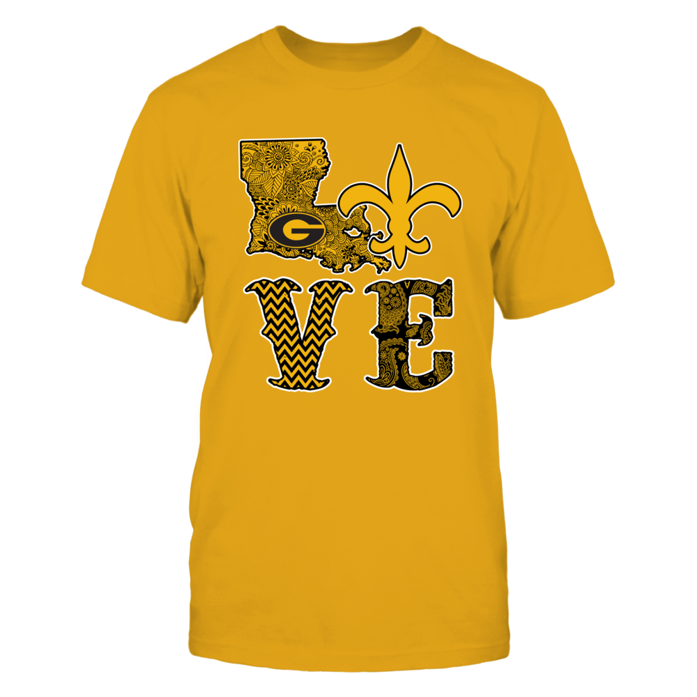 Grambling State Tigers - Love - Saint - Gold shirt Front picture