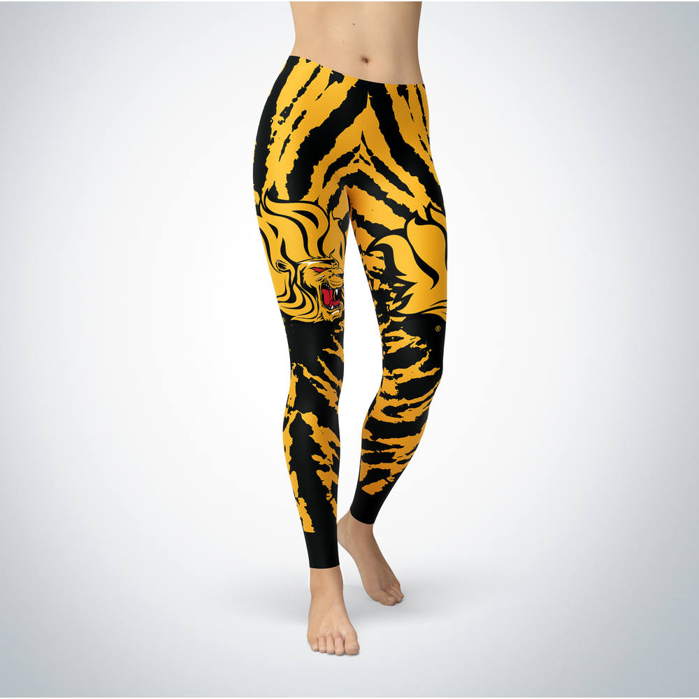 Tie Dye Design - Arkansas at Pine Bluff Golden Lions Leggings Front picture