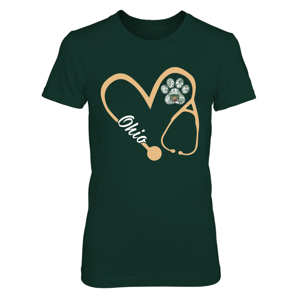 Ohio Bobcats - Heart 3/4 - Nurse - Patterned Paw Front picture