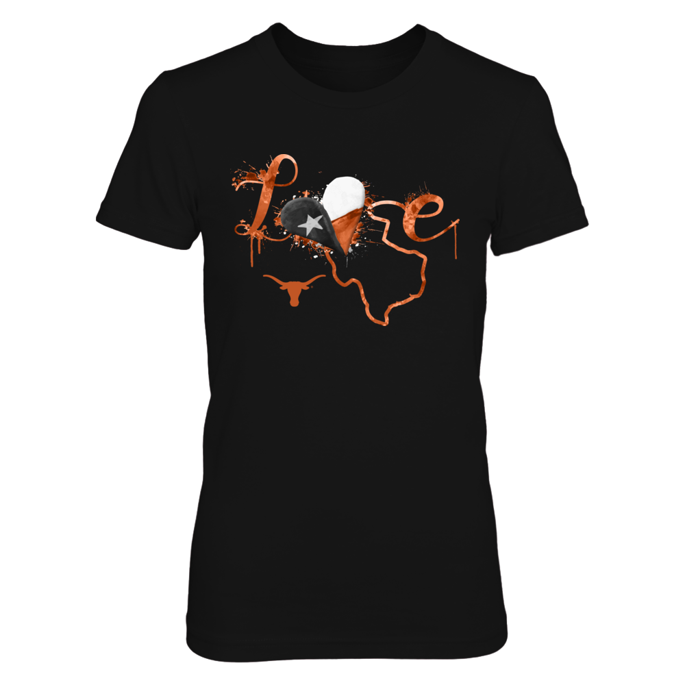 Texas Longhorns - Love Slogan With Texas Map Front picture