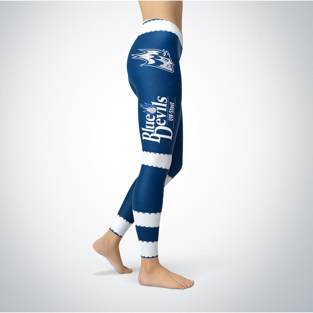 Football Design Wisconsin Stout Blue Devils Leggings Front picture