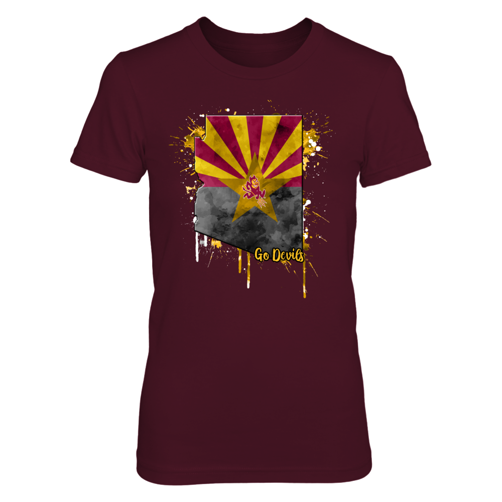 Arizona State Sun Devils - Color Drop State Map Front picture