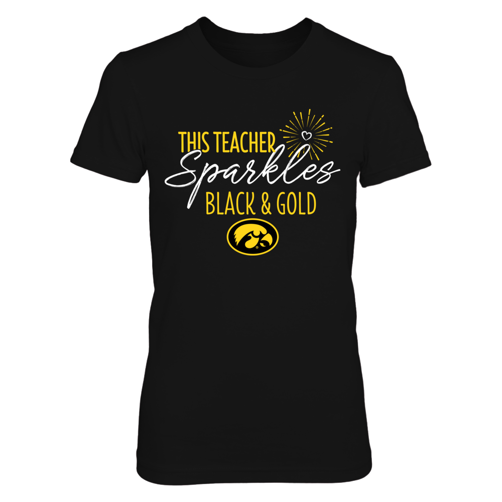This Teacher Sparkles Iowa Hawkeyes Colors T-Shirt | Tank Front picture
